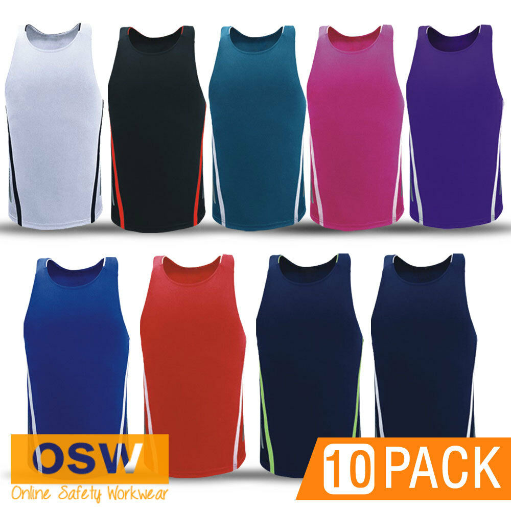 10 X SPORTS EVENT TOUCH OZTAG TEAM GYM JERSEY SINGLETS - CUSTOM PRINT OPTION
