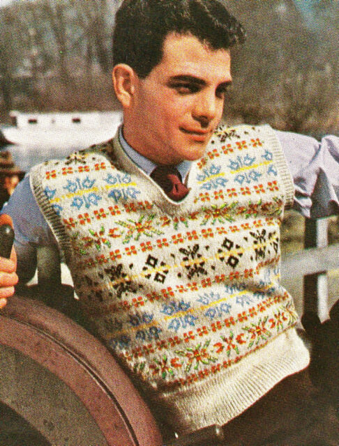 Instructions-Vintage 1940s fair isle mens pullover to knit 'knitting pattern'