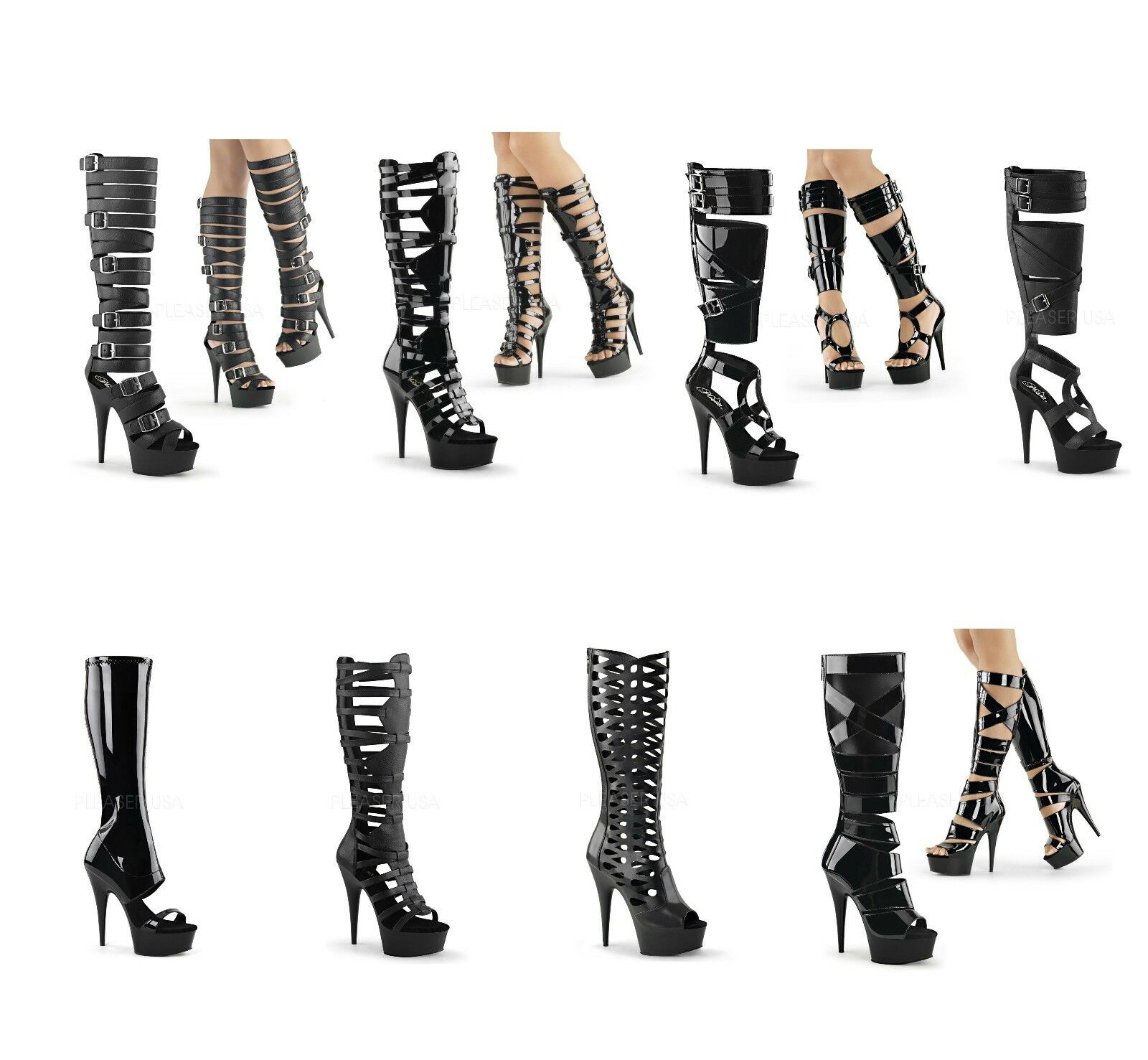 Pleaser DELIGHT-600 Sexy Exotic Dancing Platform Gladiator Sandal Knee stivali