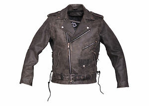 Men-039-s-Distressed-Belted-Brando-Motorcycle-Leather-Jacket