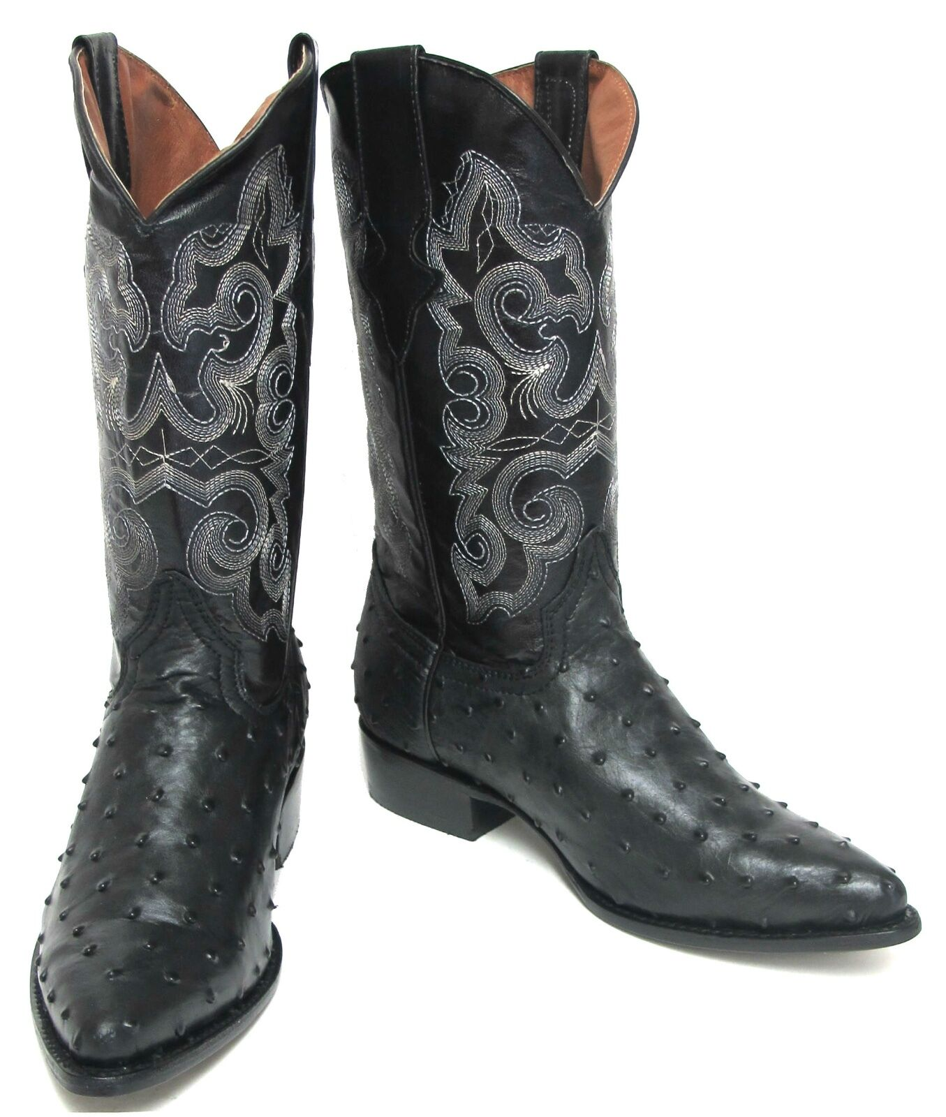 Men's New TW Ostrich Design Leather Cowboy Western Rodeo  J Toe  Boots Black
