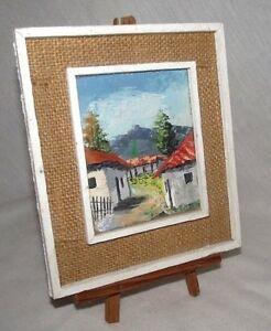 Honduras-Painting-Buildings-Landscape-Small-Wood-Burlap-Easel-Central-America-CA
