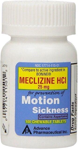 Meclizine 25 mg Generic Bonine Motion Sickness Chew Tabs 100 per Botlle
