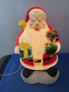 VTG-18-034-Christmas-Blow-Mold-Santa-Claus-w-Teddy-Bear-amp-Present-Lighted-Works