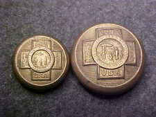 LOT OF 2 RARE 7/8 11/16 BRASS SPANISH AMERICAN WAR VETERAN UNIFORM BUTTON COVERS