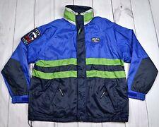 Mens Vintage 90s Point Zero CODE FLAG Nylon Rain Jacket Blue Size Large