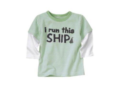"/""NWT/"" Boy/'s I RUN THIS SHIP Gymboree Yacht Team//Club Jade Green Long Sleeve Top"