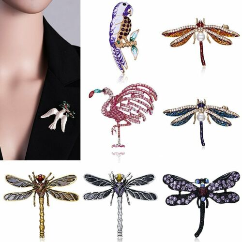 Fashion Crystal Pearl animaux Dragonfly Oiseaux Broche Pin Femmes Costume Jewelry