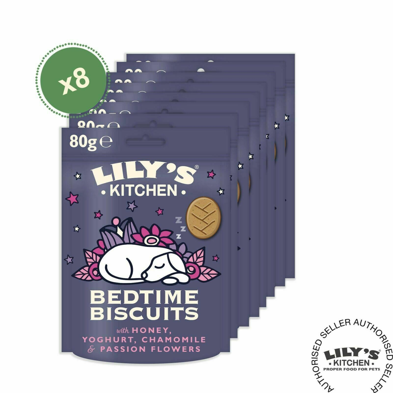 Lily's Kitchen (Pack of 8 x 80g) Bedtime Biscuits – Organic Calming Dog Treats