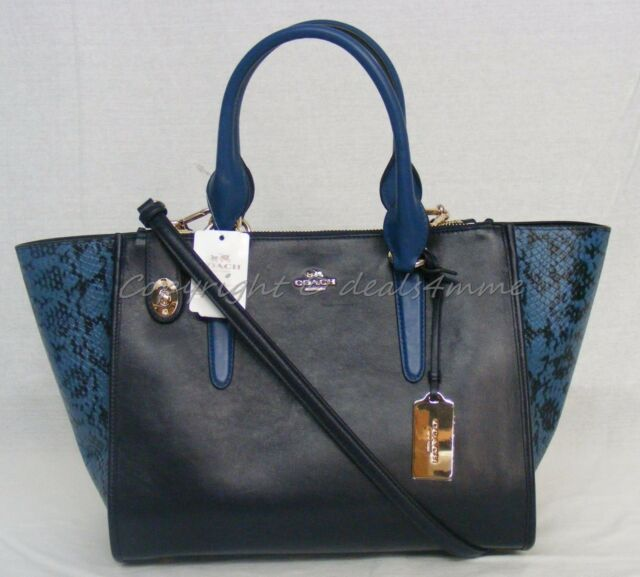 Coach 36571 Crosby Bag Colorblock Leather Satchel Carryall Purse Navy