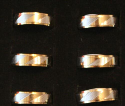 NEU Modeschmuck Ring Edelstahl Farbe bicolor Dicke 5mm Ehering Größe 17-22 #99
