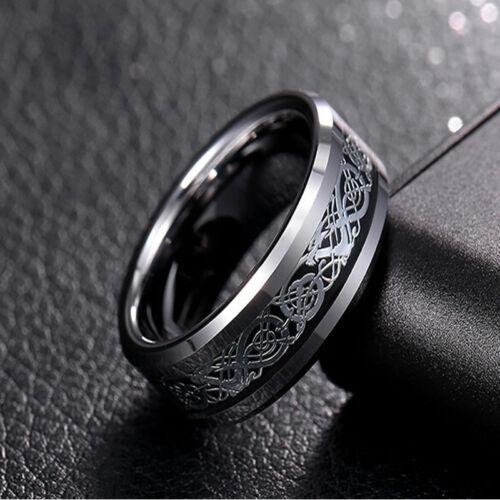 Fashion Men Silver Celtic Dragon Titanium Stainless Steel Wedding Band Rings