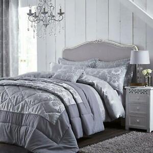 Catherine Lansfield Damask Jacquard Silver Duvet Set Reversible Bedding Curtain