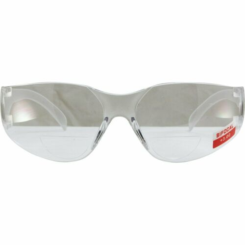 RIDER WRAP AROUND BIFOCAL SAFETY GLASSES 3.0x MAGNIFICATION CLEAR LENS
