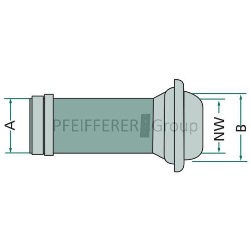 V-Teil mit Schlauchtülle Nennweite 120 mm A = 120 mm Italienisches System