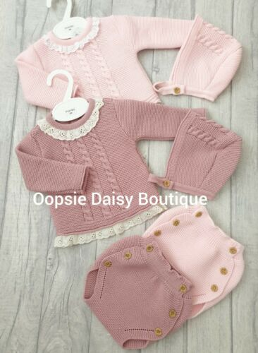 Girls Pink /& Dusky Pink Spanish Knitted Ribbon Jam Suits with Bonnet upto 18mth⭐