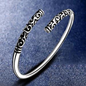 Handmade-Men-Thai-Silver-Vintage-Women-Bangle-Bracelet-Open-Cuff-Gift-Jewelry