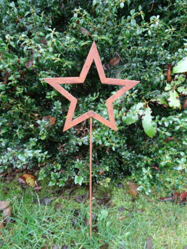 63 cm hoch Gartenstecker kleiner Stern offen aus Metall Rost Gartendeko