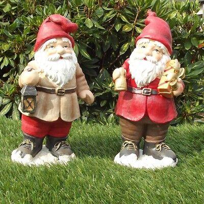 Gartenfiguren 2-er Set Weihnachtsmänner ca 25cm Haus Garten Deko Figur