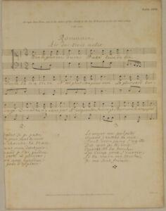 ROMANZE-Notenblatt-Lyrik-Vers-Original-Kupferstich-von-1807-franzoesisches-LIED