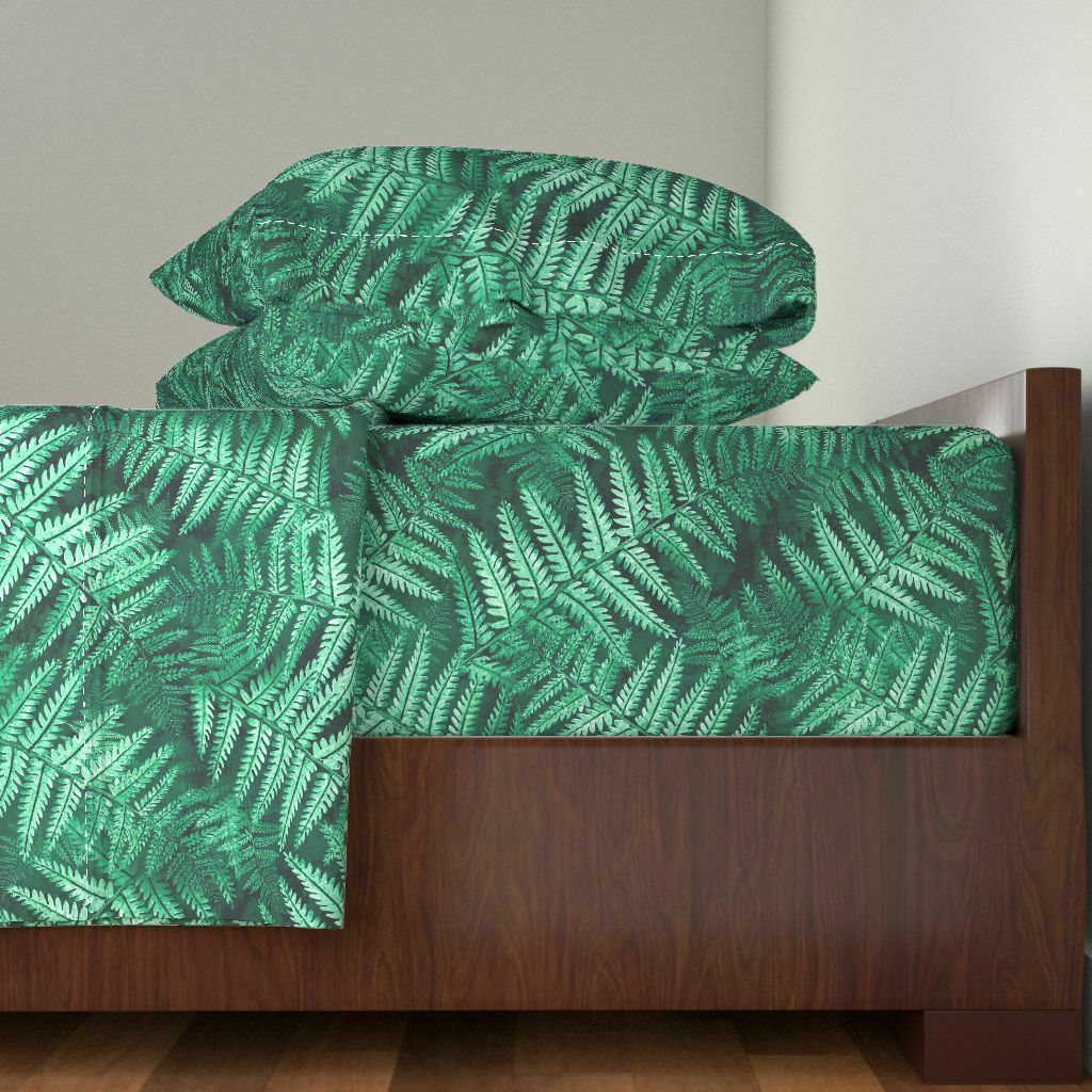 Lush Tropical Paradise Palm Frond 100% Cotton Sateen Sheet Set by Roostery