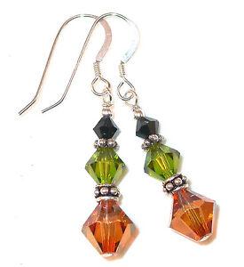BLACK-OLIVE-COPPER-Crystal-Earrings-Sterling-Silver-Dangle-Swarovski-Elements