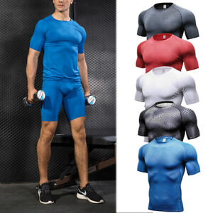 Men-039-s-Compression-Top-T-shirt-Shorts-Running-Workout-Fitness-Gym-Tights-Wicking