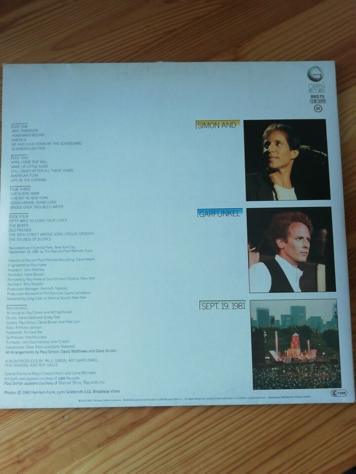 LP, Simon and Garfunkel, The Concert in Central Park