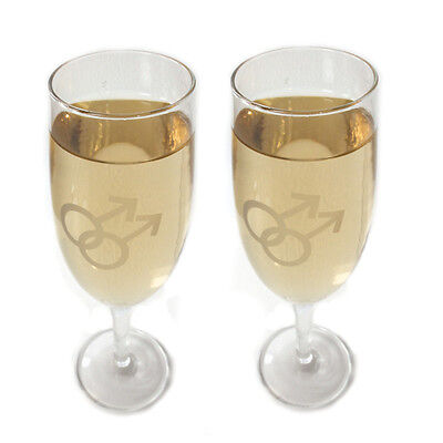 Gay Pride Wedding Champagne Flutes Gay Mens Clear Glass
