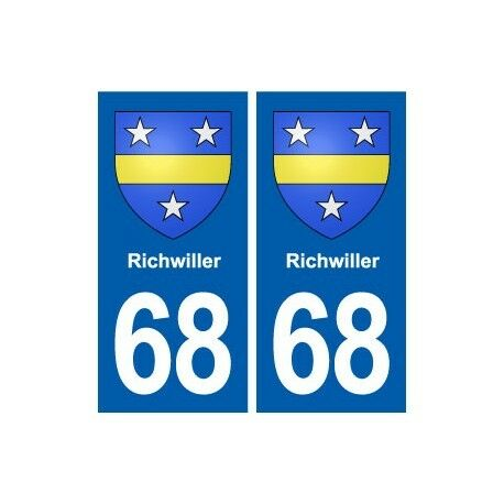 68 Richwiller blason autocollant plaque stickers ville arrondis