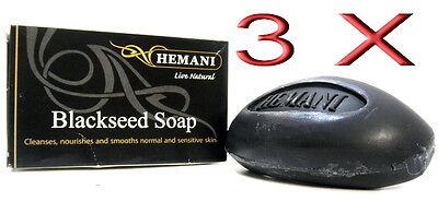 3 X HEMANI Schwarzkümmel Seife 100% Natürlich*Tagespflege Gesichtspflege Körper