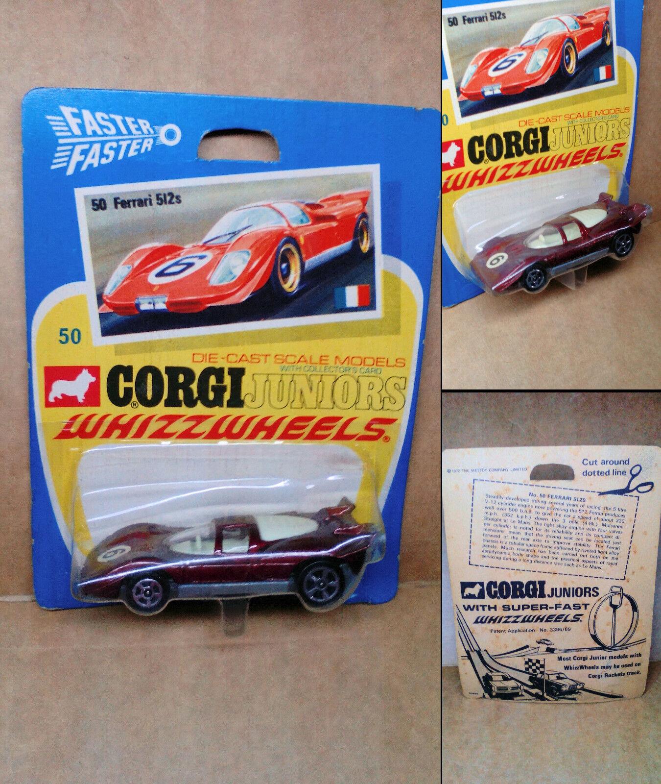 Todo en alta calidad y bajo precio. Vintage 1 1 1 (tres) Corgi Juniors Whizzwheels-NO.50  Ferrari 512s  - menta en tarjeta  grandes ahorros