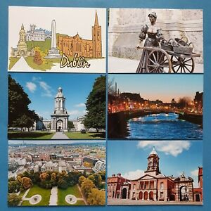 Set-of-6-New-Glossy-Postcards-DUBLIN-Ireland-Eire-Castle-River-Liffey-Malone-20P