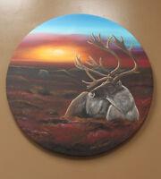 "2017 Jeremy Kakepetum ""untitled"" caribou original painting Winnipeg Manitoba Preview"