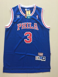 ee477d09 New Philadelphia 76ers #3 Allen Iverson Retro Blue Basketball Jersey ...