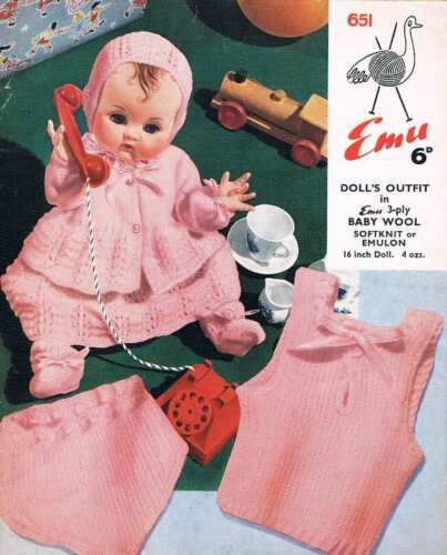 """Vintage Knitting Pattern for Dolls Clothes to fit 16/"""" doll PDF copy by e-mail"""