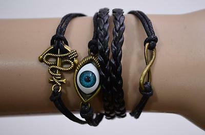 Pastel Goth Multi-Color Fashion Bracelets Owl Anchor Arrow Star Cross Eye Alloy