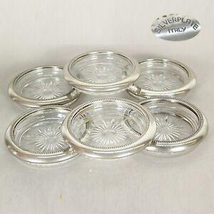 Set di sei sottobicchieri vintage in vetro e silver plate posacenere antico