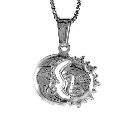 "Sterling Silver Moon 3D Pendant Charm 18/"" Italian Box Chain"