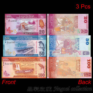SRI LANKA BANKNOTE SET 3 UNC 20 50 100 RUPEES 2010 SERIES WITH FOLDER