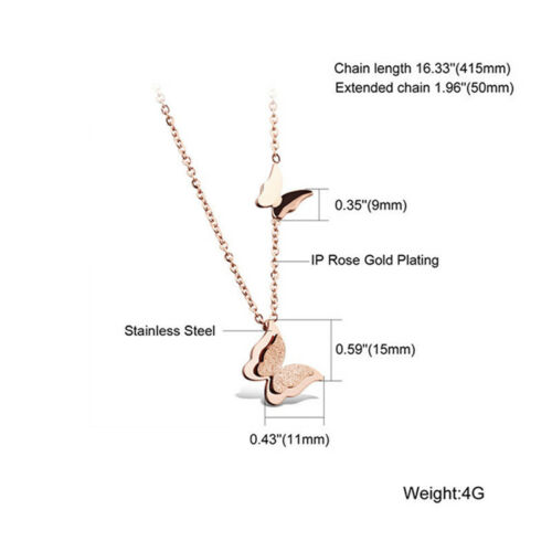Chic Double Butterflies Rose Gold Necklace Choker Chain Jewellery for Girls one