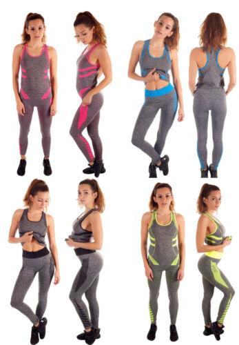 GYM Damen Fitness Set Sportanzug Jogginganzug Sportanzug 2-Teiler 015-105 NEU