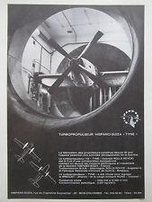 1966 PUB HISPANO-SUIZA SOUFFLERIE TURBOPROPULSEUR TYNE TRANSALL FRENCH AD