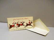 Vtg Christmas Card Paramount Horse Racing Race Track Jockey Santa Reindeer