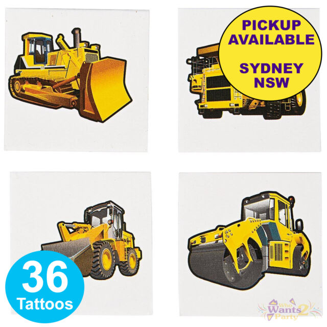 CONSTRUCTION TRUCKS PARTY SUPPLIES 36 TATTOOS LOOT BAG BIRTHDAY FAVOURS DIGGER