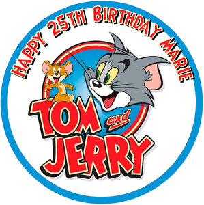 Tom Jerry 75 Round Personalised Edible Icing Cake Topper