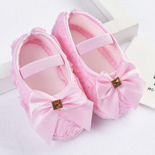 Toddler Kid Baby Girl Rose Bowknot Soft Elastic Band Newborn Walk Casual Shoes
