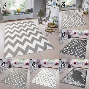 Kurzflor-Teppich-in-Grau-Weiss-Gitter-Marokkanisch-Designer-Grau-Wohnzimmer-NEU