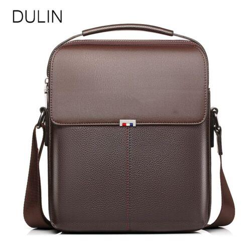 DULIN Cow Leather Messenger Bags Men Travel Business Crossbody Shoulder Bag for
