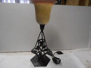 Lampe de bureau opaline fer forge 1900 art nouveaux ebay